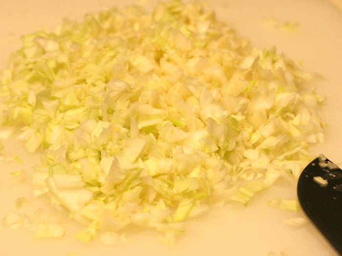 Freshly chopped cabbage